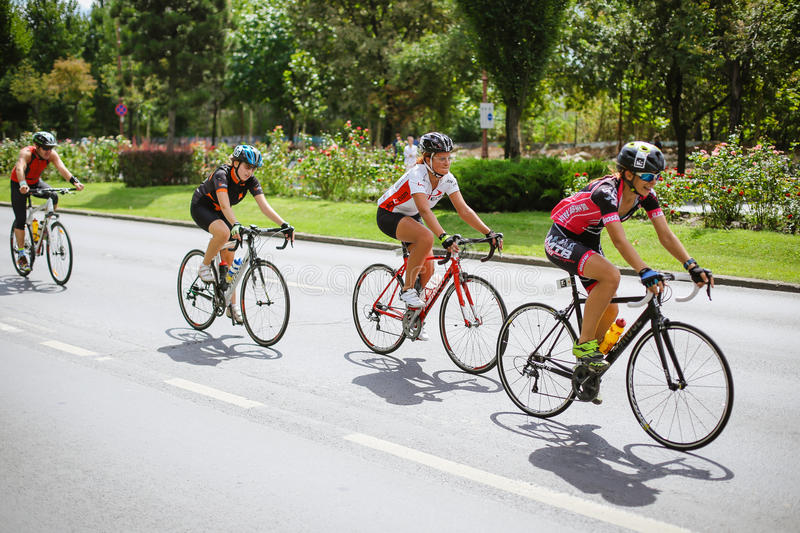 Happy cyclists competing. Cyclists competing in RGT Road Grand Tour Champions Race, Bucharest, Romania stock photo