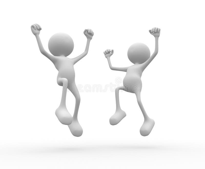 Happy. 3d people - man, person happy. Success vector illustration