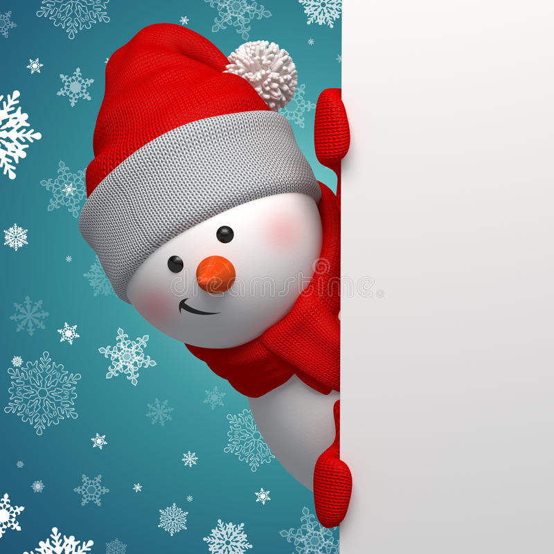 Happy 3d snowman holding white page stock illustration