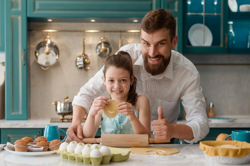 Happy dad and daughter stock photos