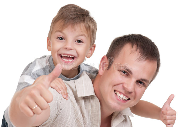 Happy dad and son royalty free stock photography