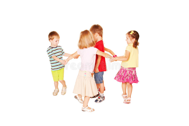 Happy dancing kids. Isolated on white royalty free stock photography