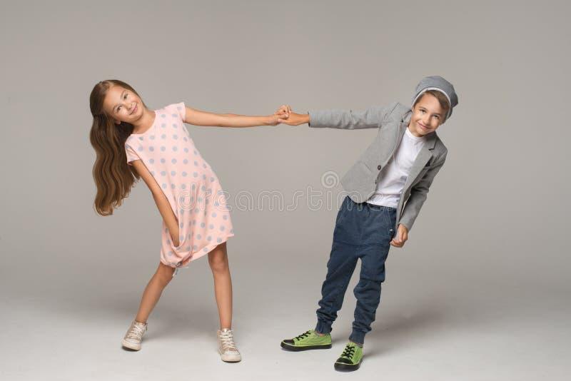 Happy dancing kids. royalty free stock photos
