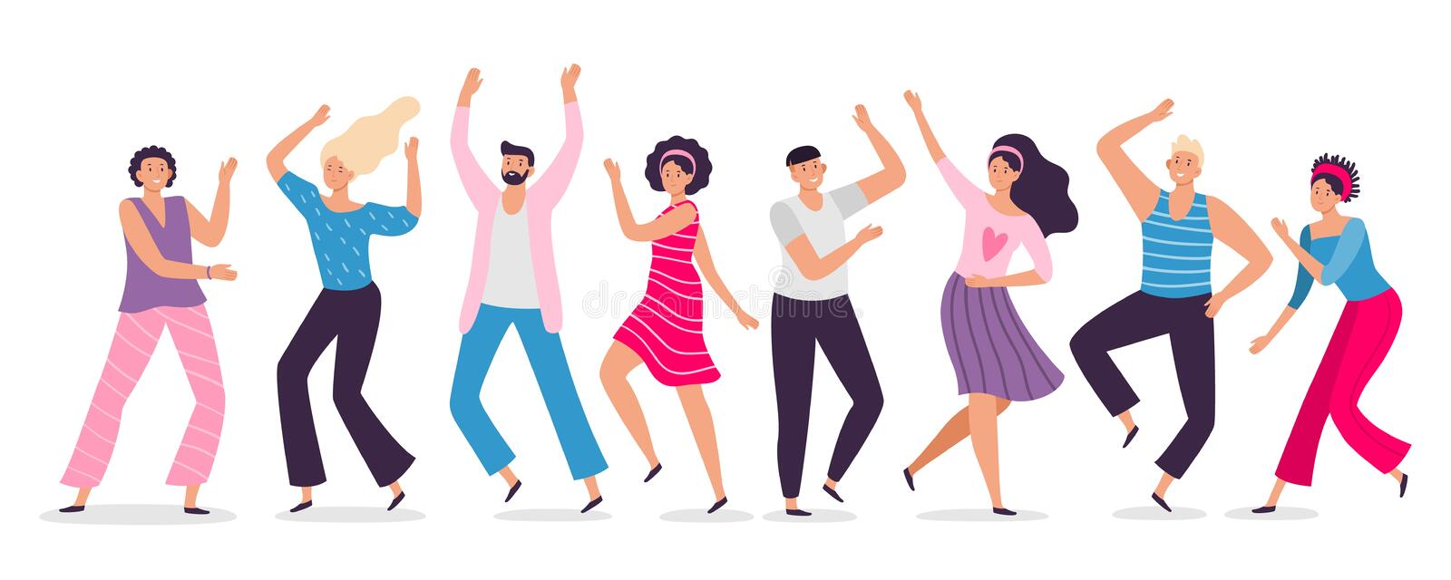 Happy dancing people. Friends dance, club female and male dancers flat vector illustration vector illustration