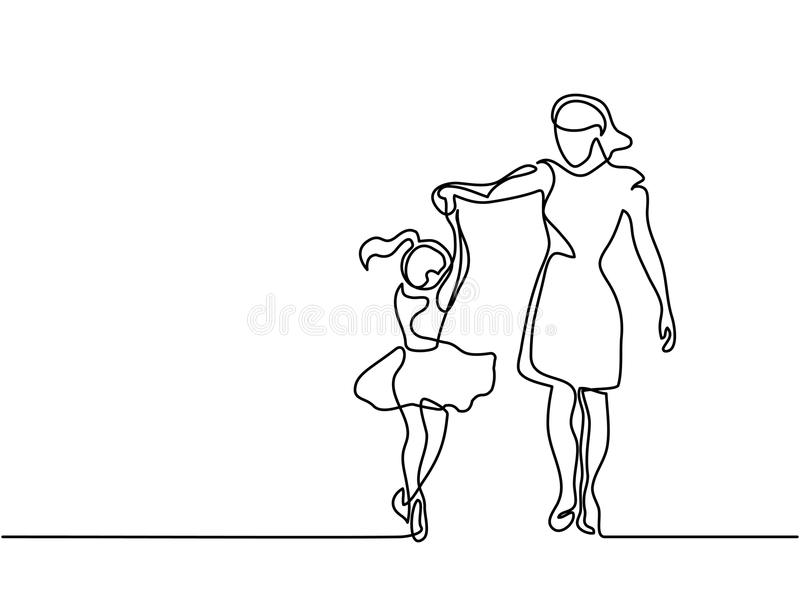 Happy dancing woman - continuous line drawing. Continuous line drawing. Happy woman mother help to dance to her daughter. Vector illustration total editable stock illustration