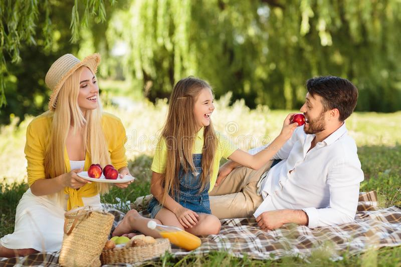Happy daughter giving father fruits in nature stock images