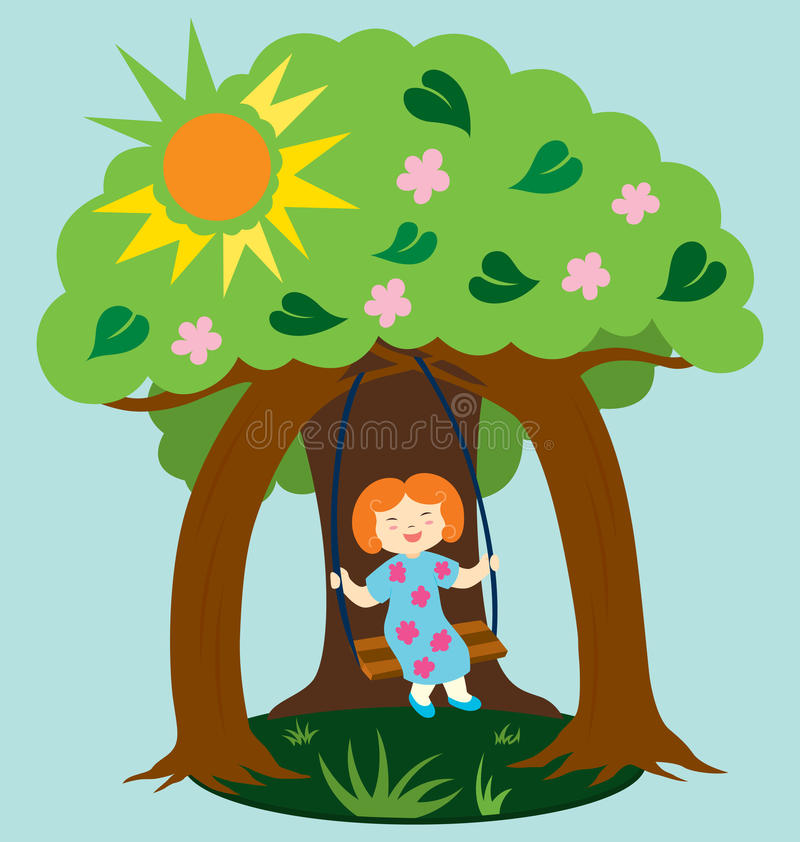 Download A Happy Day stock vector. Image of leaf, girl, season - 18682379