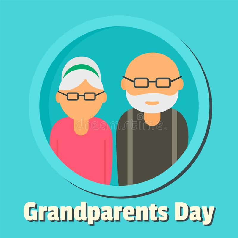 Happy day of grandparents background, flat style royalty free illustration