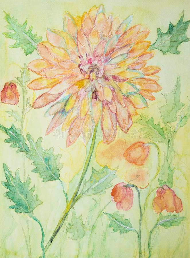 Happy decorative marigold painting royalty free illustration