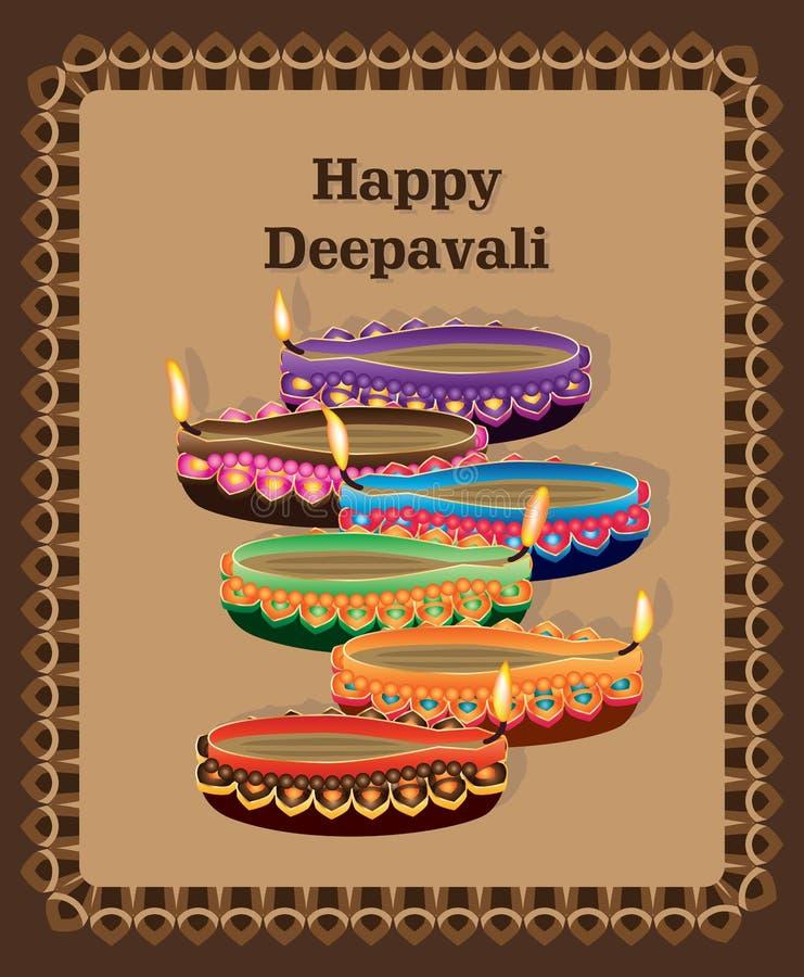 Download Happy Deepavali Lamp Colorful Card Stock Image