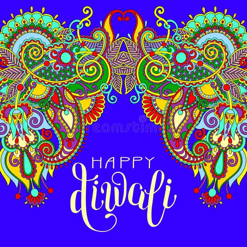 Happy Deepawali greeting card with hand written inscription. To indian light community diwali festival, vector illustration vector illustration
