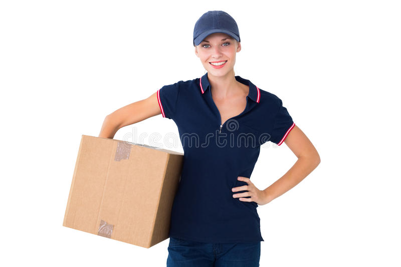 Happy Delivery Woman Holding Cardboard Box Stock Photo