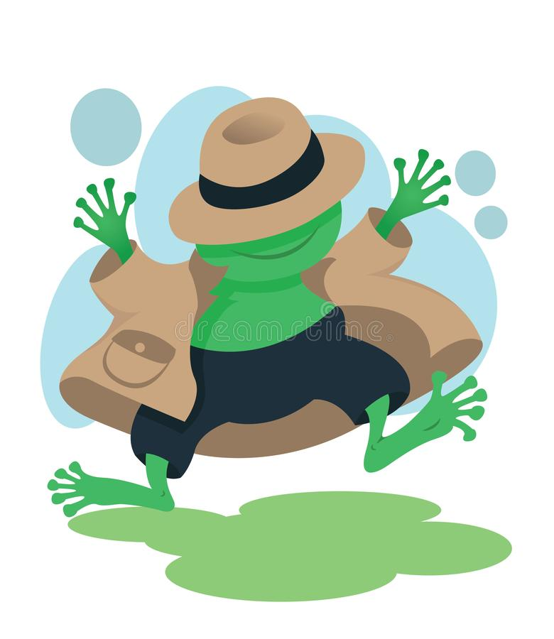 Happy detective frog mascot for kids books stock illustration