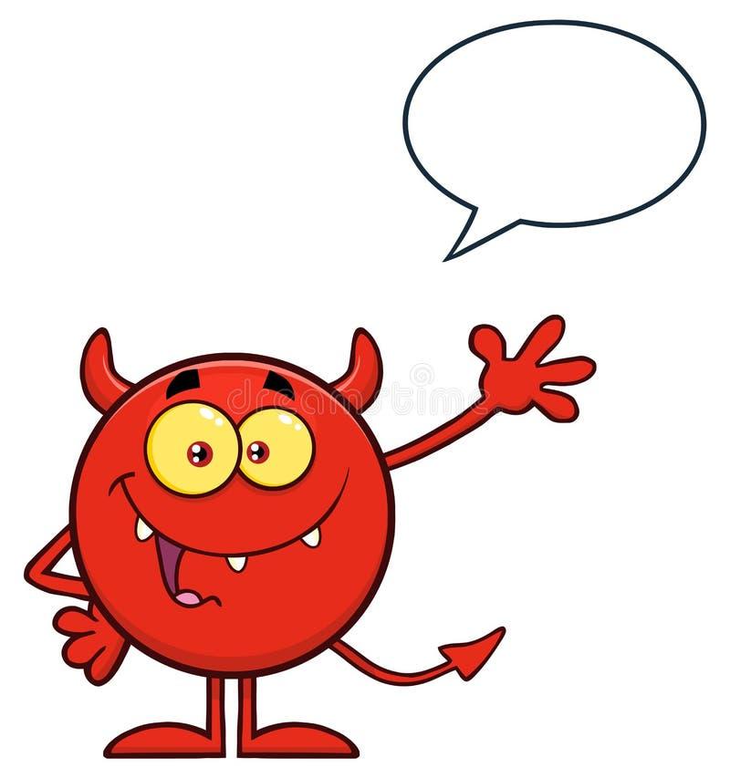 Happy Devil Cartoon Emoji Personnage En Tête De Salutation Avec La Bulle D'Expression illustration libre de droits