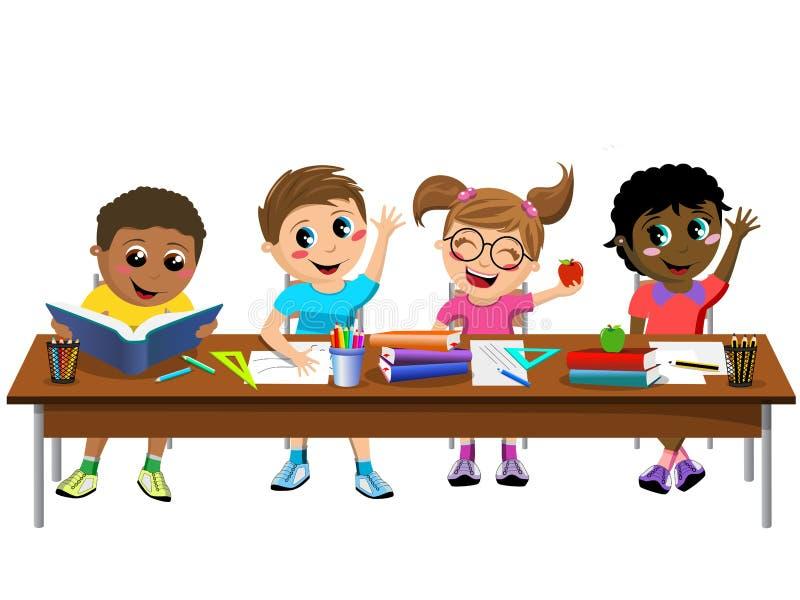 Happy Diligent Kids Children Sitting Desk School Isolated