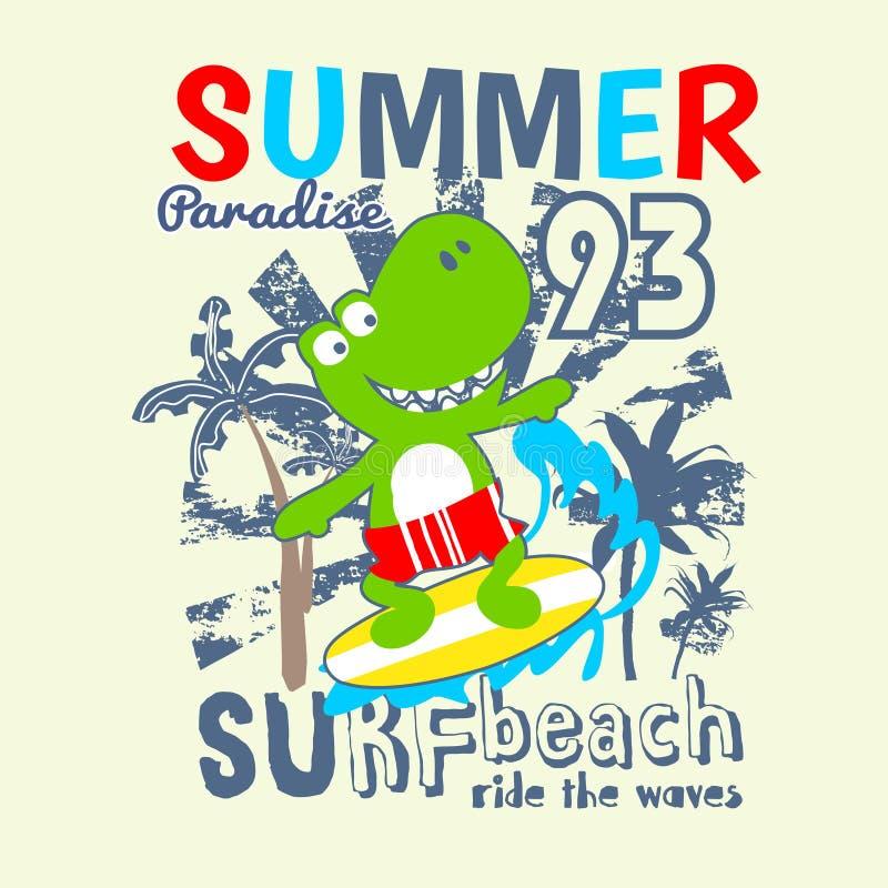 Happy dino surfing cartoon vector vector illustration