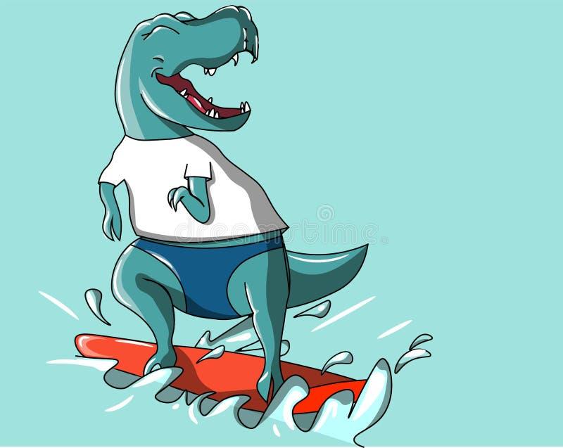 Happy dinosaur surfing on water vector illustration