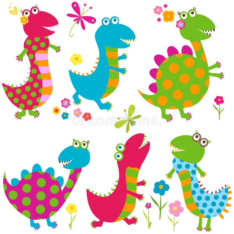 Happy dinosaurs. Dinos set, happy cute colorful dinosaurs
