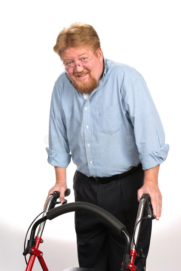 Free Happy Disabled Man Using Walker Stock Photos - 49463783