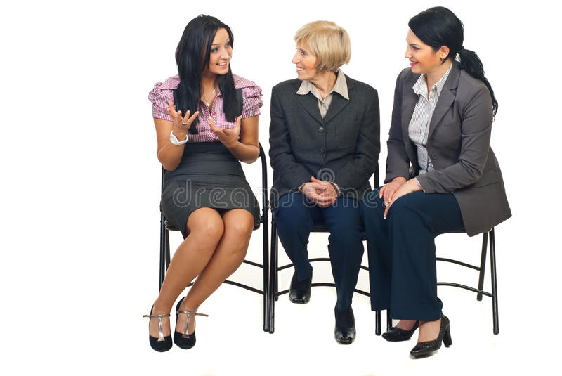 Happy discussion at conference stock photos
