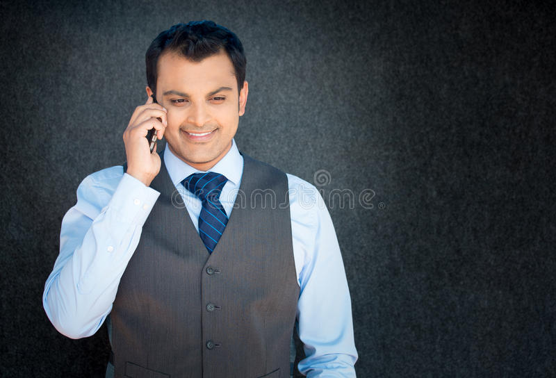 Happy discussion on phone royalty free stock images