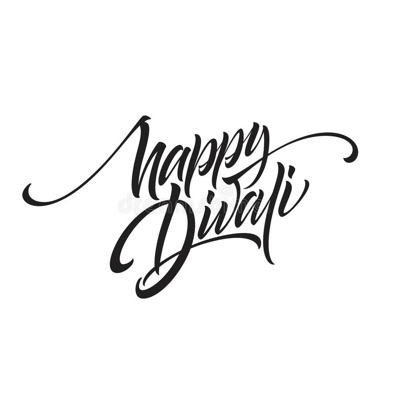 Happy divali festival of lights black calligraphy hand lettering text isolated on white background. Vector illustration stock illustration