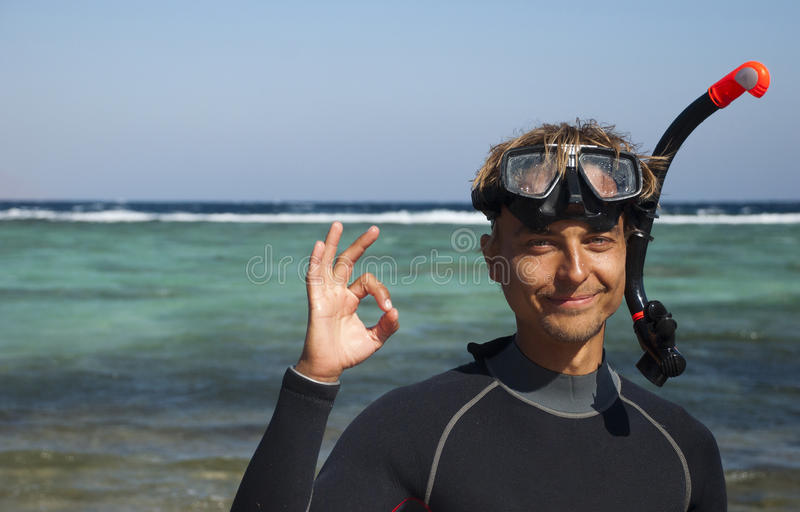Happy Diver Royalty Free Stock Images