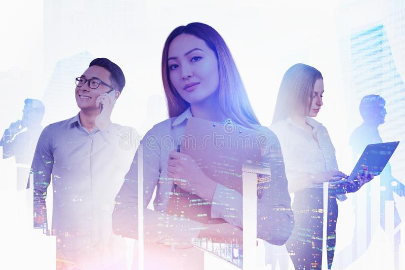 Happy diverse business people in city stock image