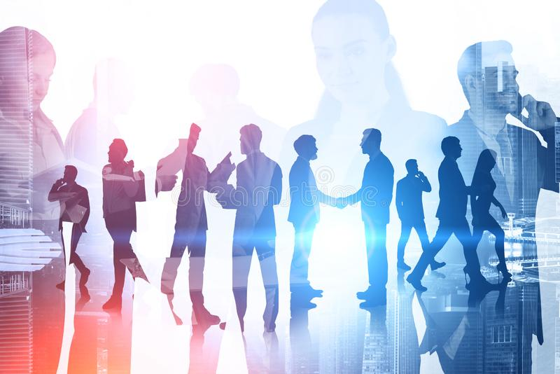 Happy diverse business team in city royalty free stock photography