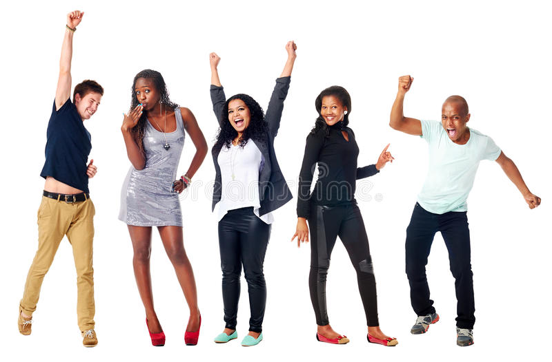 Happy diverse people stock images