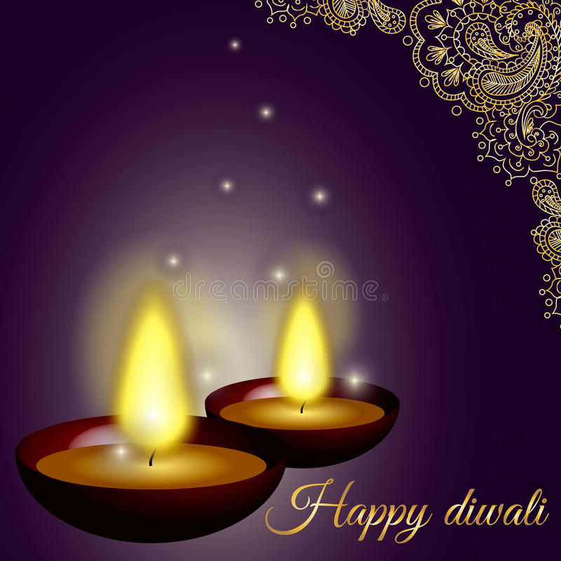 Happy diwali background with candles, pattern and glitter stock photo