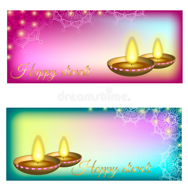 Happy diwali background with candles, pattern and glitter royalty free stock image