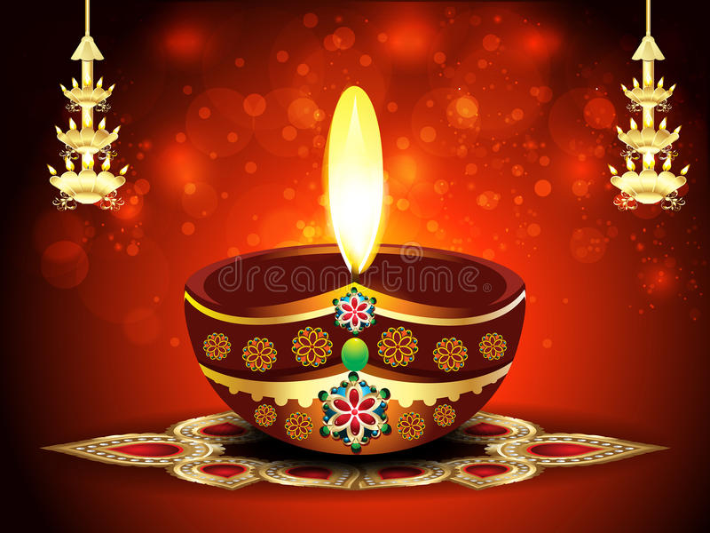 Happy Diwali Background With Deepak Stock Vector ...  Happy Diwali Ba...