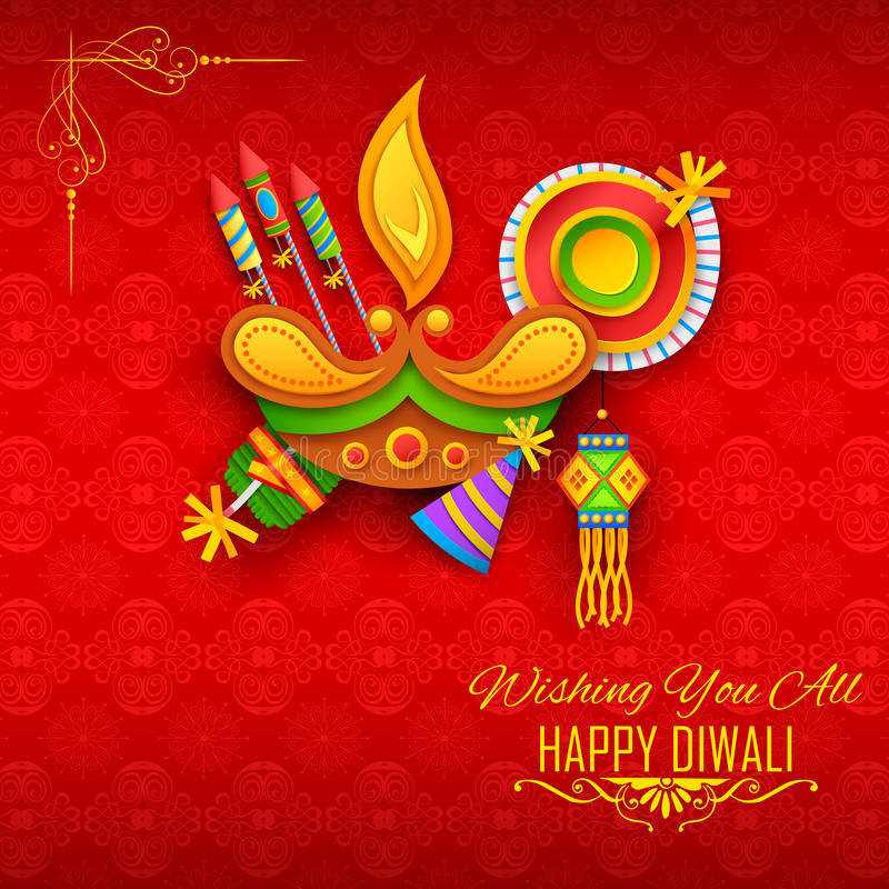 Happy Diwali background with diya and firecracker for light festival of India vector illustration