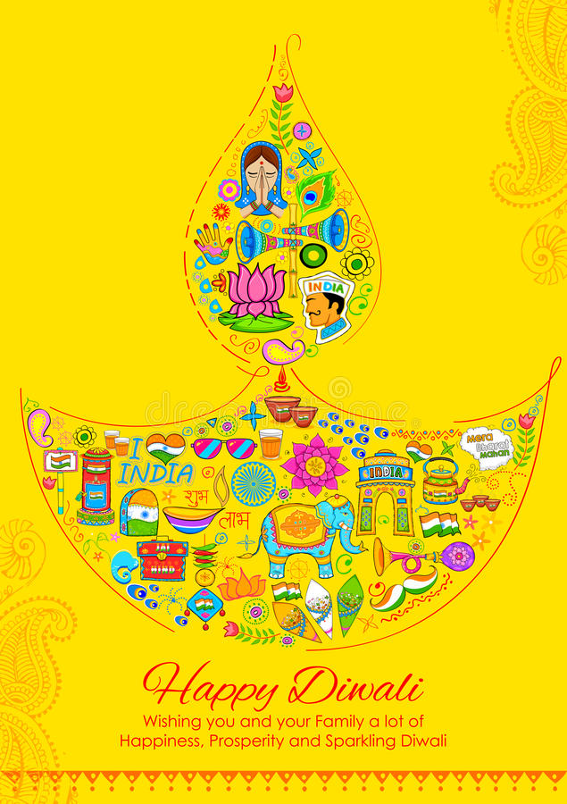 Happy Diwali background with India related things in diya shape royalty free illustration