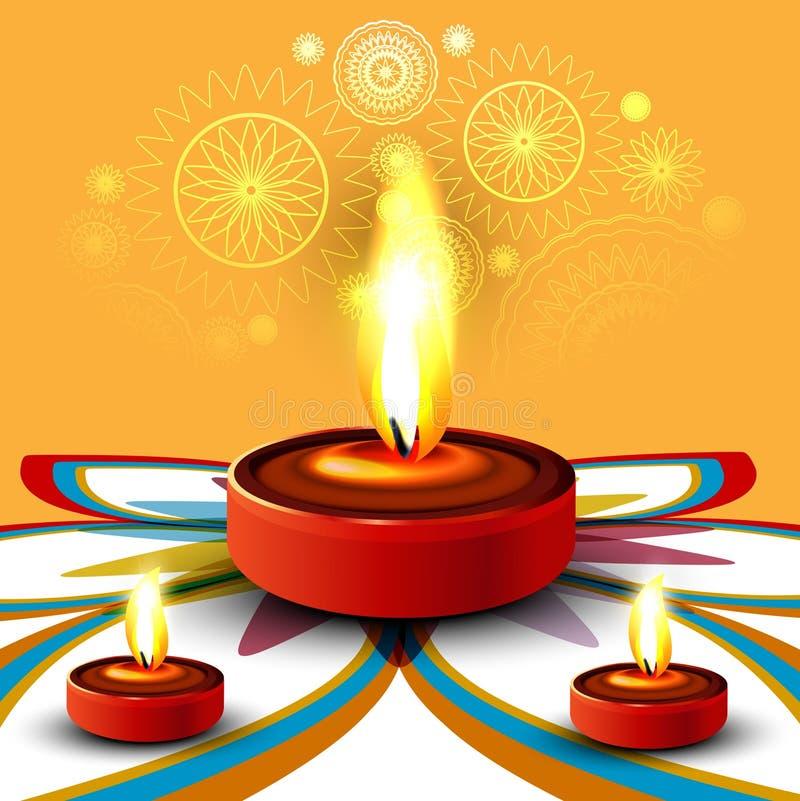 Happy diwali beautiful diya rangoli. Colorful hindu festival illustration royalty free illustration