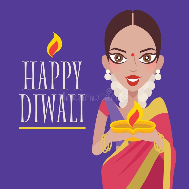Happy Diwali. Beautiful Indian woman hands holding diya oil lamp, celebrating diwali. vector illustration