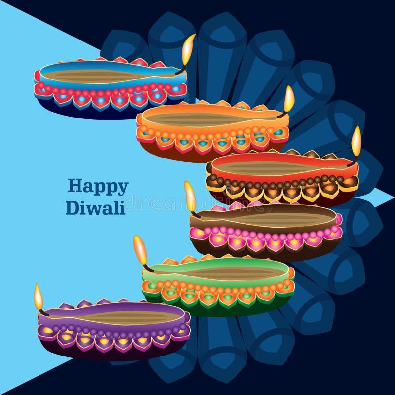 Happy diwali blue lamp colorful side card vector illustration