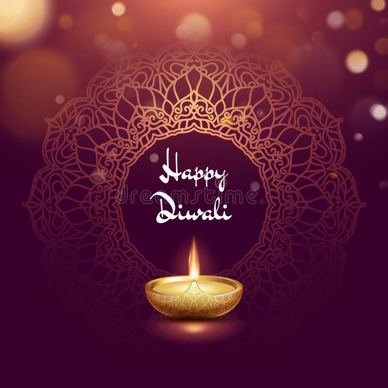 Happy Diwali festival burning diya card template. EPS 10 stock illustration