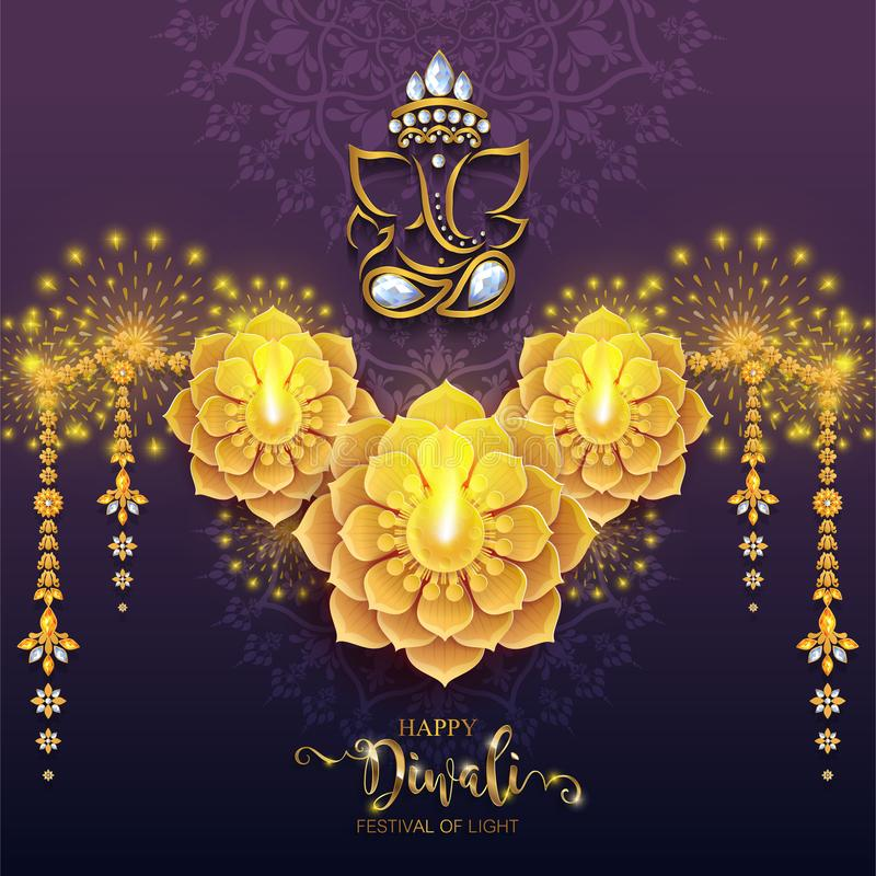 Happy Diwali festival card vector illustration