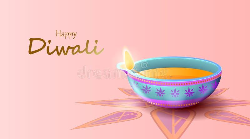 Happy Diwali Festival mit Öllampe, Diwali feiern Grußkarte, Vektor lizenzfreie abbildung