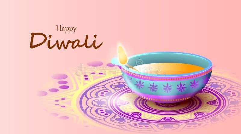 Happy Diwali Festival mit Öllampe, Diwali feiern Grußkarte, Vektor stock abbildung
