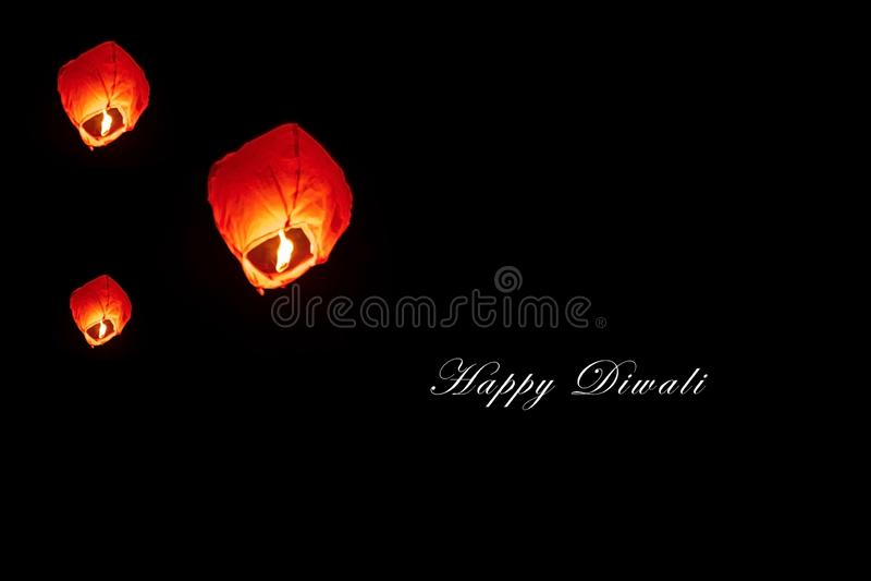 Happy Diwali - Fireflies Lantern royalty free stock photo