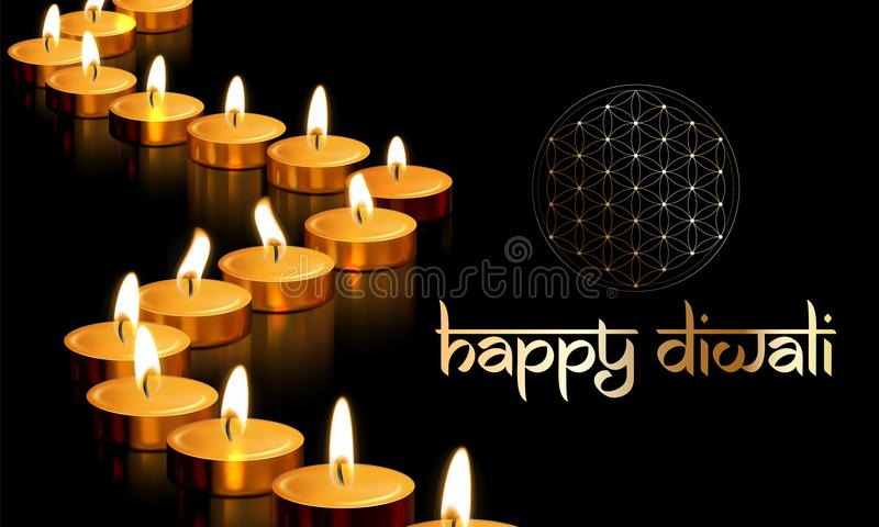 Happy diwali gold candle light indian greeting card vector lettering happy diwali indian festival of lights holiday greeting card template vector gold candle light flame on golden premium background for traditional diwali m4hsunfo