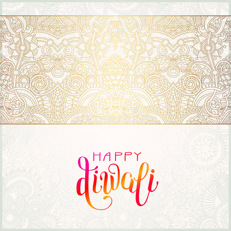 Happy Diwali gold greeting card with hand written inscription. To indian light community festival, vector illustration eps 10 stock illustration