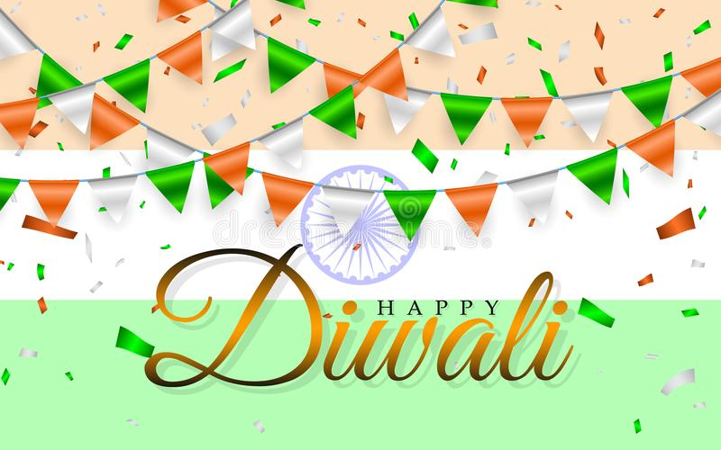 Happy Diwali Indian flags garland. India flag and Garlands of orange white green flags and foil confetti. Vector illustration stock illustration