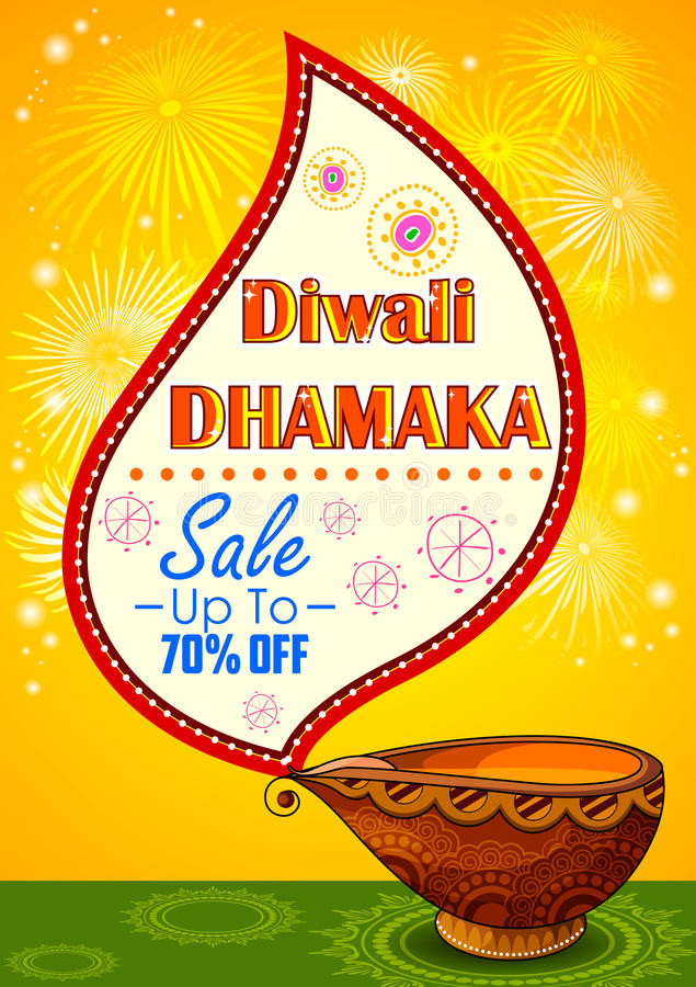 Happy Diwali promotion background with diya. Illustration of Happy Diwali promotion background with diya stock illustration