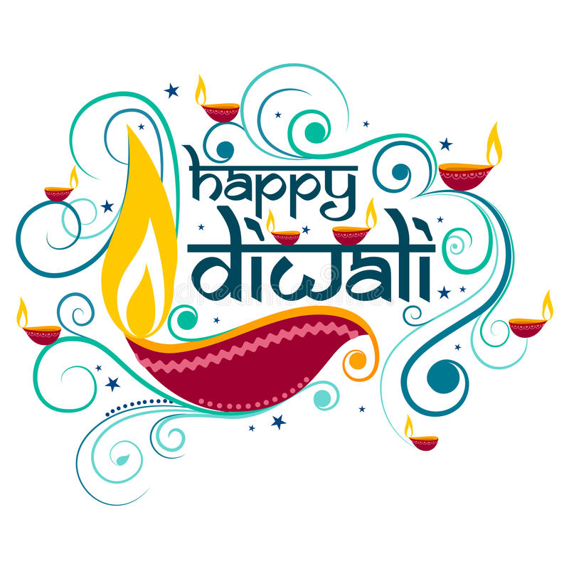 Happy Diwali typography in calligraphy style for festival of India stock illustration