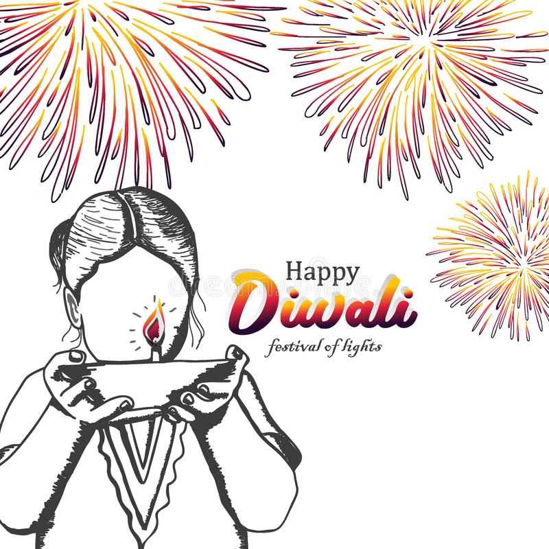 Happy Diwali vintage hand drawn design with girl, burning diya, and fireworks. Festival of lights with colorful retro drawing card royalty free illustration