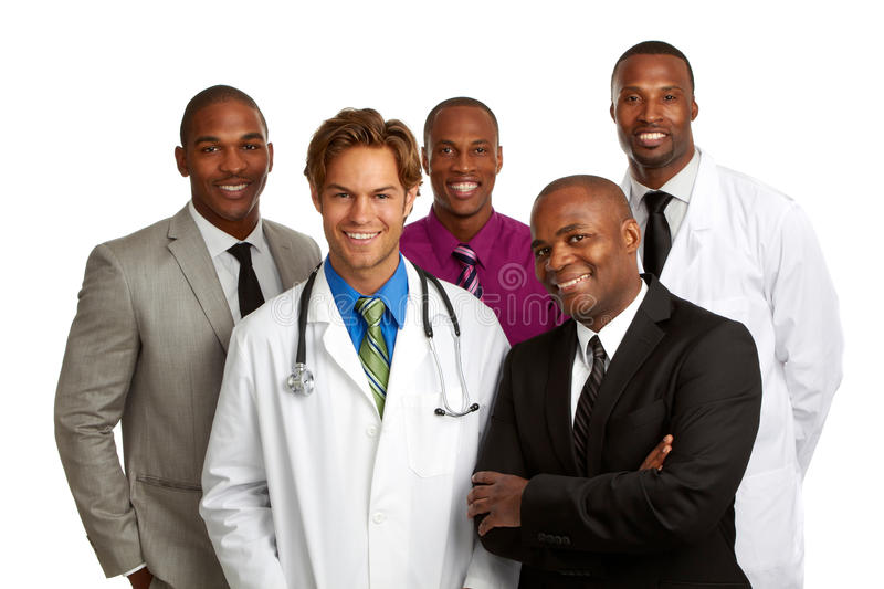 Happy doctor and business men isolated on white background royalty free stock photo